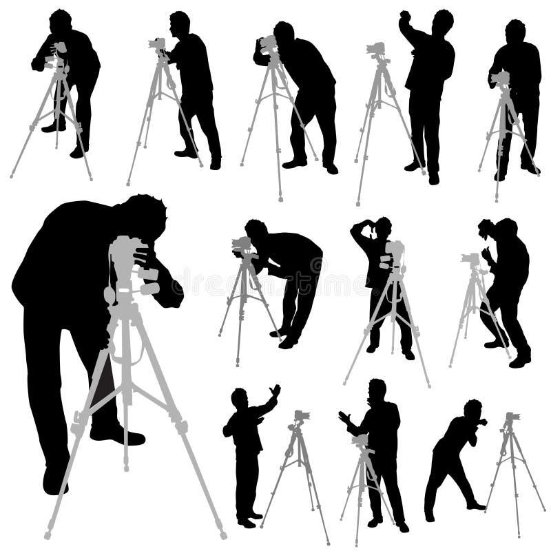 Vetor ajustado fotógrafo ilustração stock
