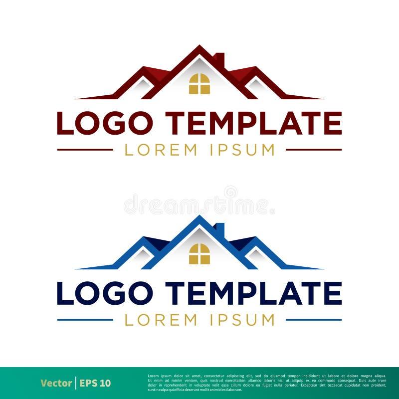 Vetor ajustado Logo Template Illustration Design do ícone de Real Estate Vetor EPS 10 ilustração stock