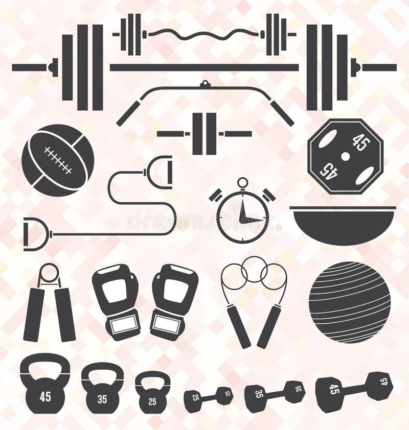 Vetor ajustado: O Gym liso e o exercício da cor retro equipam-se ilustração royalty free