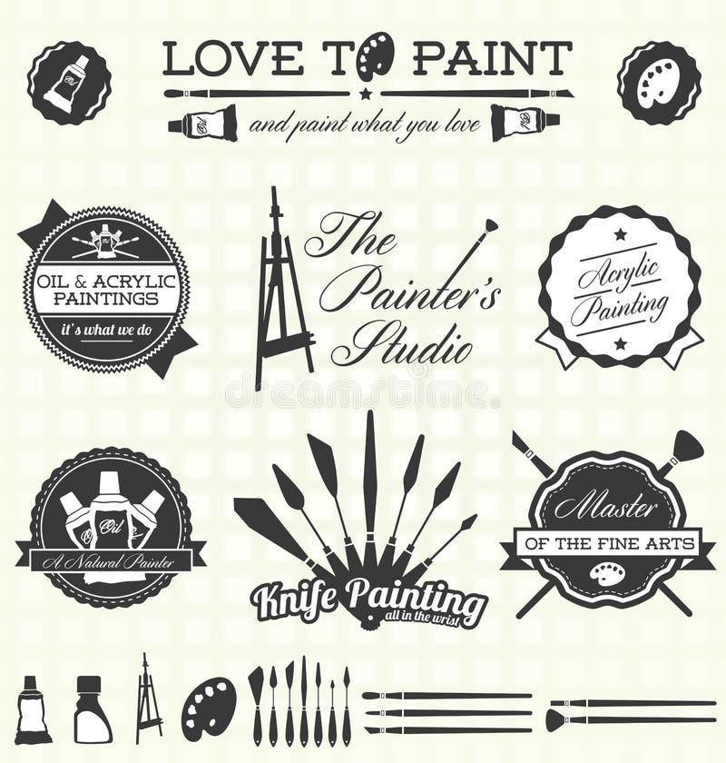 Vetor ajustado: Pintor retro Labels do estilo e ícones ilustração stock