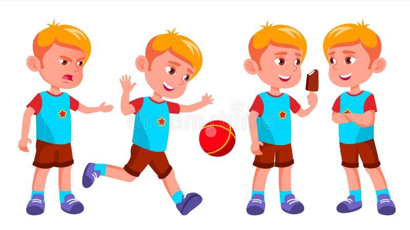 Vetor ajustado poses da criança do jardim de infância do menino Criança, expressão da criança júnior Para o cartão, tampa, projet ilustração royalty free