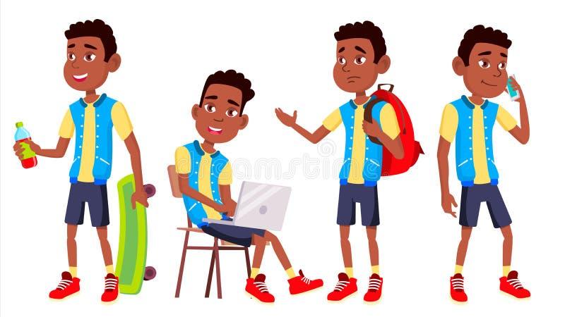 Vetor ajustado poses da criança da estudante do menino Aluno alto classmate Adolescente, sala de aula, sala preto Afro-americano  ilustração royalty free
