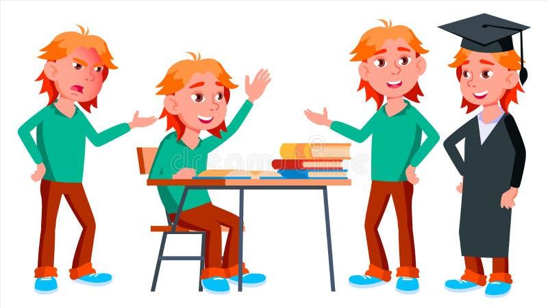 Vetor ajustado poses da criança da estudante do menino Aluno alto classmate Vida, emocional, pose Para a Web, folheto, cartaz ilustração do vetor