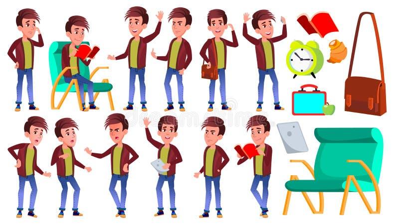 Vetor ajustado poses da criança da estudante do menino Aluno alto Estudo das crianças O conhecimento, aprende, lição para anuncia ilustração do vetor