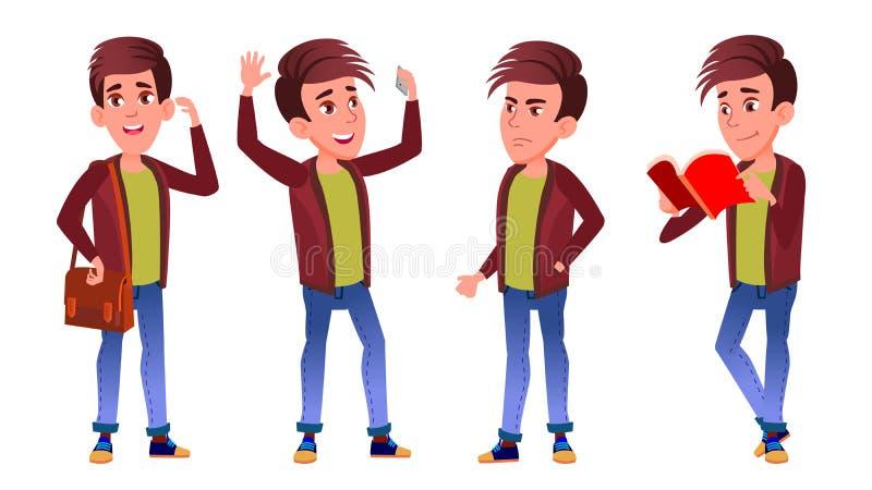 Vetor ajustado poses da criança da estudante do menino Aluno alto teenage Livro, espaço de trabalho, placa Para a Web, folheto, p ilustração stock