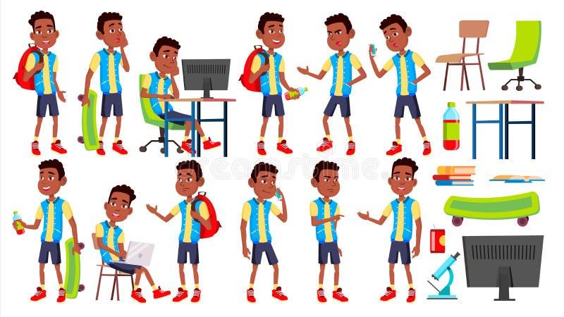 Vetor ajustado poses da criança da estudante do menino Aluno alto teenage preto Afro-americano Livro, espaço de trabalho, placa P ilustração royalty free
