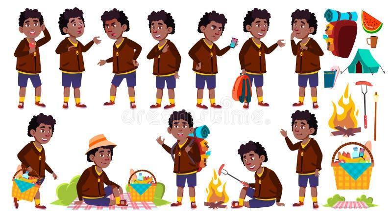 Vetor ajustado poses da criança da estudante do menino Criança de escola primária preto Afro-americano Piquenique, caminhada do r ilustração stock