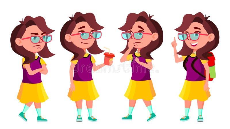 Vetor ajustado poses da criança da estudante da menina Aluno alto Estudo das crianças Sorriso, atividade, bonita Para a Web, folh ilustração royalty free