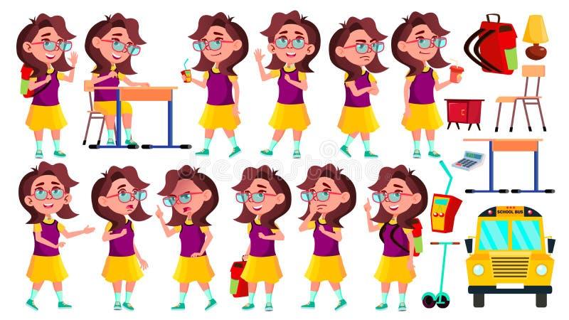 Vetor ajustado poses da criança da estudante da menina Aluno alto teenage Beleza, estilo de vida, amigável para o cartão ilustração do vetor