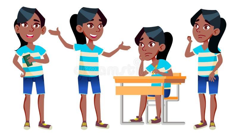 Vetor ajustado poses da criança da estudante da menina preto Afro-americano Aluno alto classmate Adolescente, sala de aula, sala  ilustração royalty free