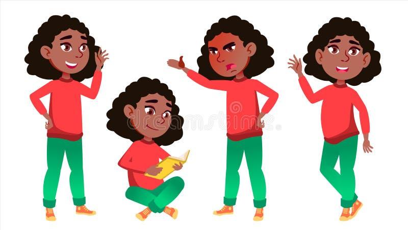 Vetor ajustado poses da criança da estudante da menina preto Afro-americano Aluno alto teenage Livro, espaço de trabalho, placa P ilustração do vetor