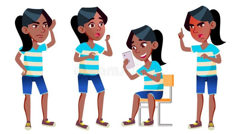 Vetor ajustado poses da criança da estudante da menina preto Afro-americano Aluno alto teenage Livro, espaço de trabalho, placa p ilustração stock