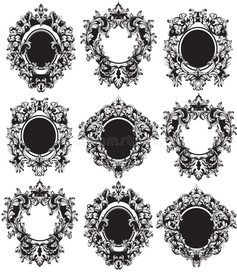 Vetor ajustado quadros do vintage Os ricos clássicos ornamented decorações cinzeladas Projetos intrincados sofisticados barrocos ilustração royalty free