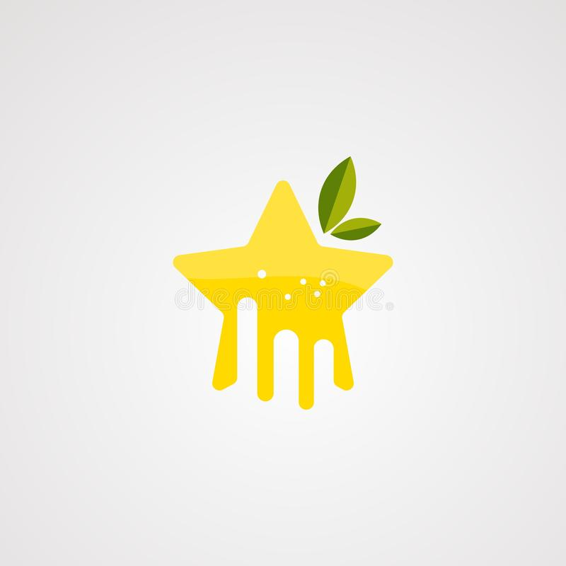 Vetor alaranjado do logotipo da estrela com suco fresco no respingo, no elemento, no ícone, e no molde para a empresa ilustração stock