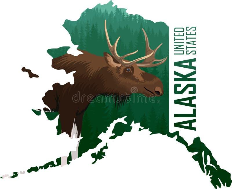 Vetor Alaska - mapa do estado americano com alces ilustração do vetor
