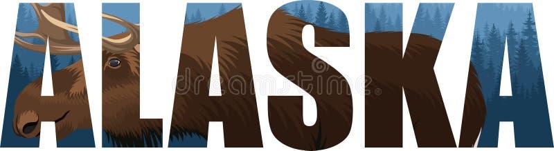 Vetor Alaska - palavra do estado americano com touro dos alces e floresta da floresta das montanhas ilustração royalty free