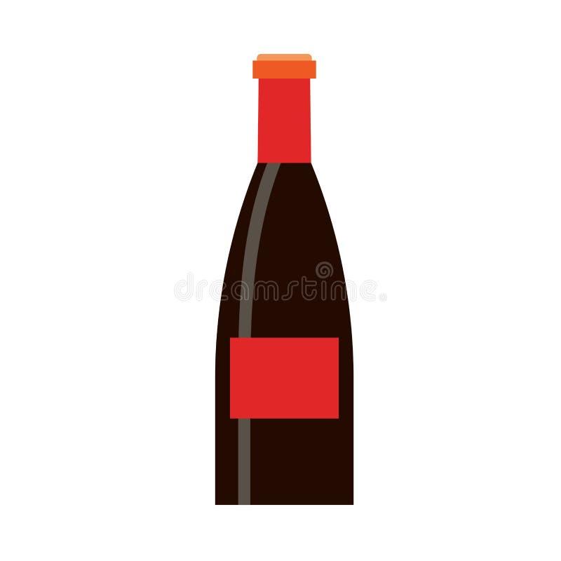 Vetor alcoólico de vidro vermelho da celebração da garrafa do vinho Silhueta lisa do ícone do alimento ilustração do vetor