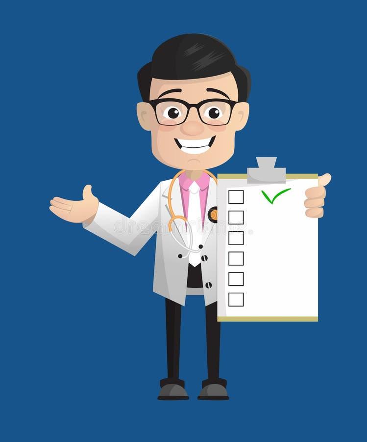 Vetor alegre da lista do doutor Showing Medical Report de Physiatrist ilustração stock