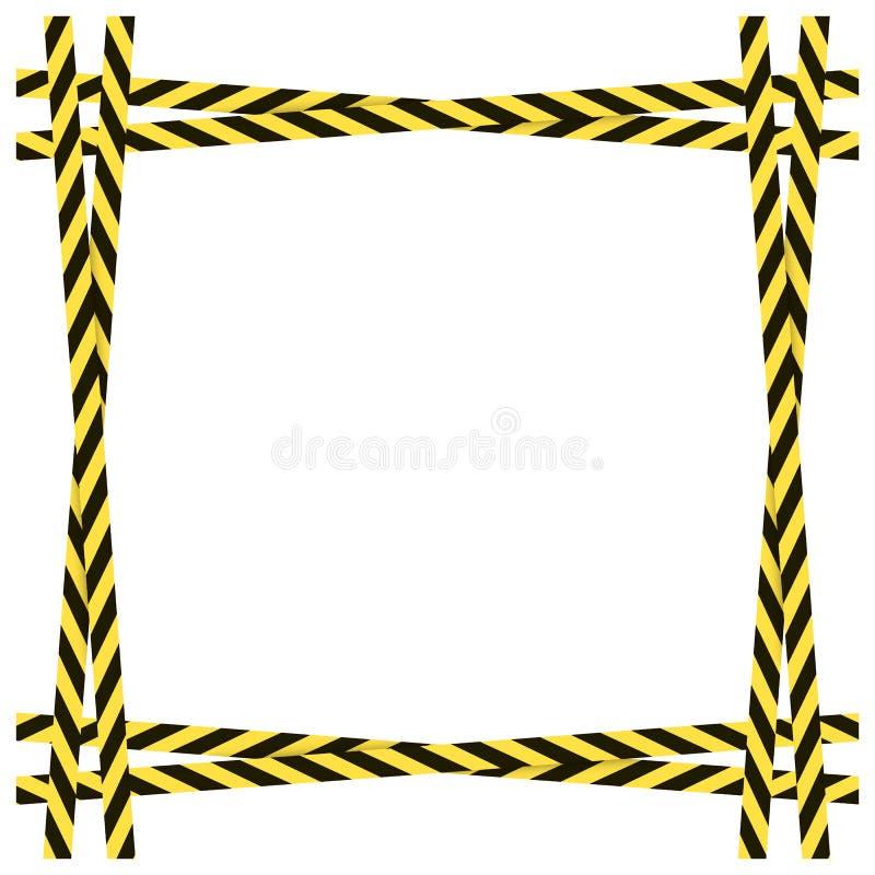 Vetor amarelo e quadro perigoso preto das fitas isolado no fundo branco, beira colorida ilustração stock