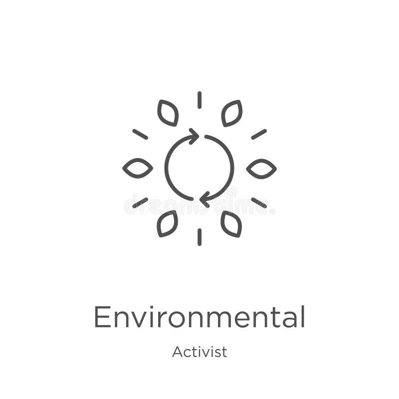 vetor ambiental do ícone da coleção do ativista Linha fina ilustração ambiental do vetor do ícone do esboço Esboço, linha fina ilustração do vetor