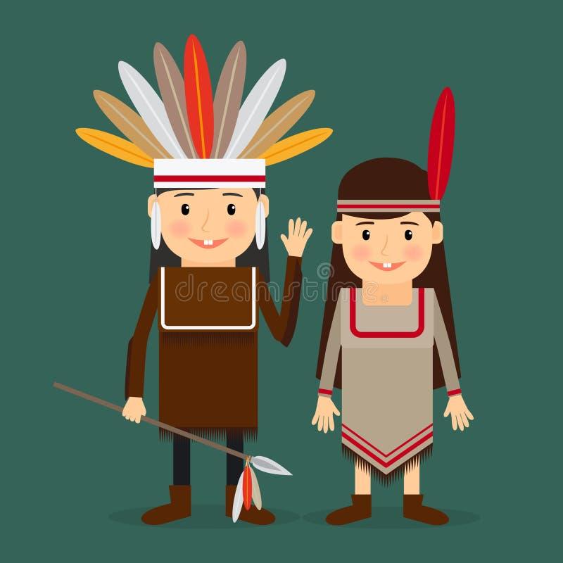 Vetor americano das crianças dos indianos ilustração do vetor