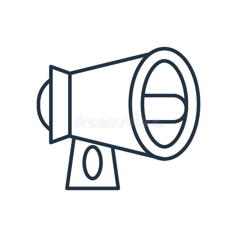 Vetor amplificado do ícone do orador isolado no fundo branco, sinal amplificado do orador ilustração do vetor