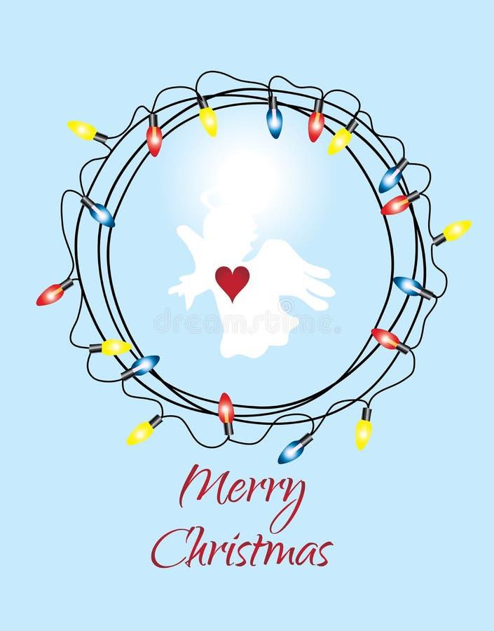 Vetor Angel And Christmas Wreath ilustração royalty free
