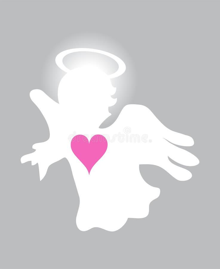 Vetor Angel With Pink Heart pequeno ilustração royalty free