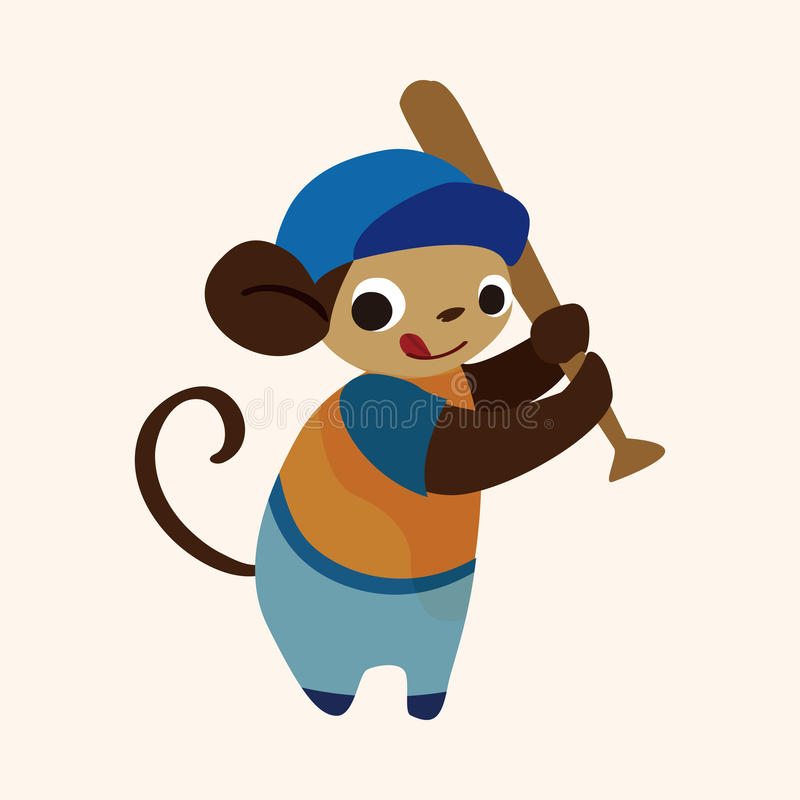 Vetor animal dos elementos dos desenhos animados do macaco do esporte ilustração do vetor