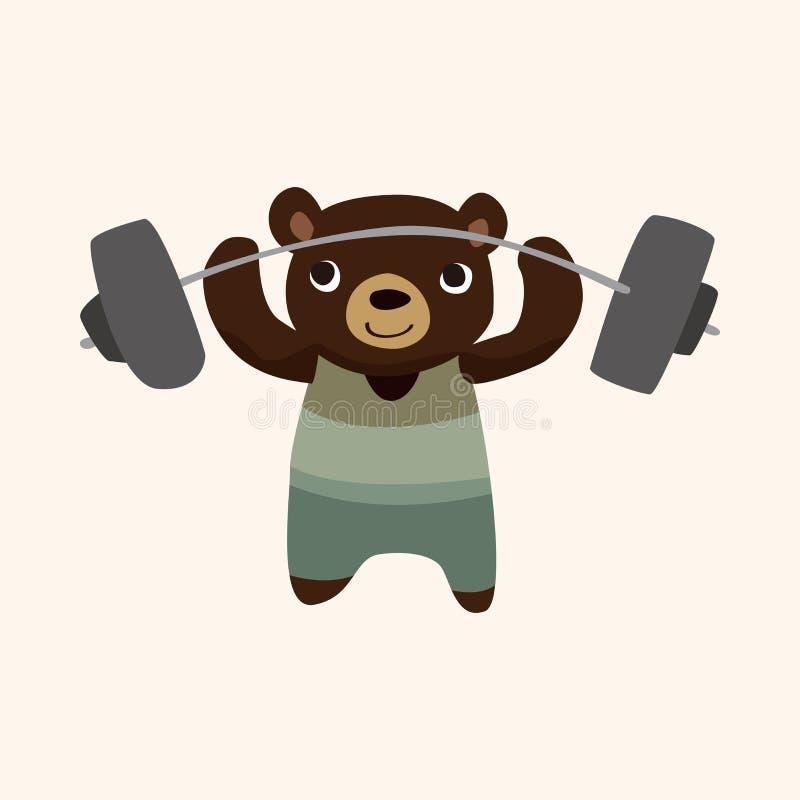 Vetor animal dos elementos dos desenhos animados do urso do esporte ilustração stock