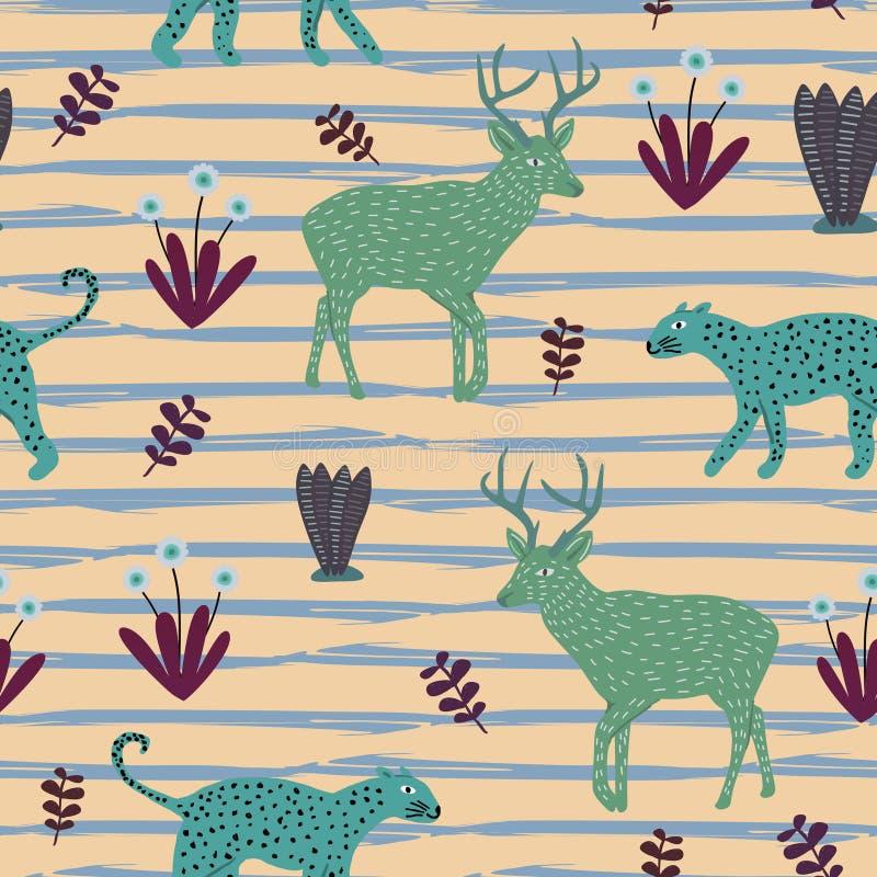 Vetor animal exótico do teste padrão Jaguar bonito do desenho criançola sem emenda, cervos, e fundo colorido floral para crianças ilustração stock