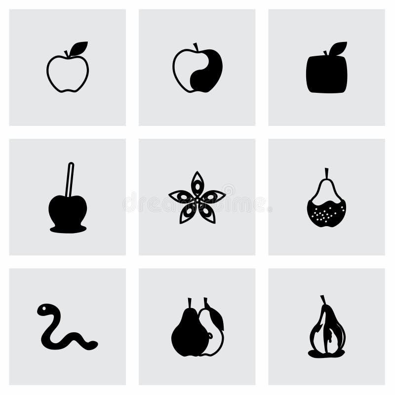 Vetor Apple e grupo do ícone da pera ilustração royalty free