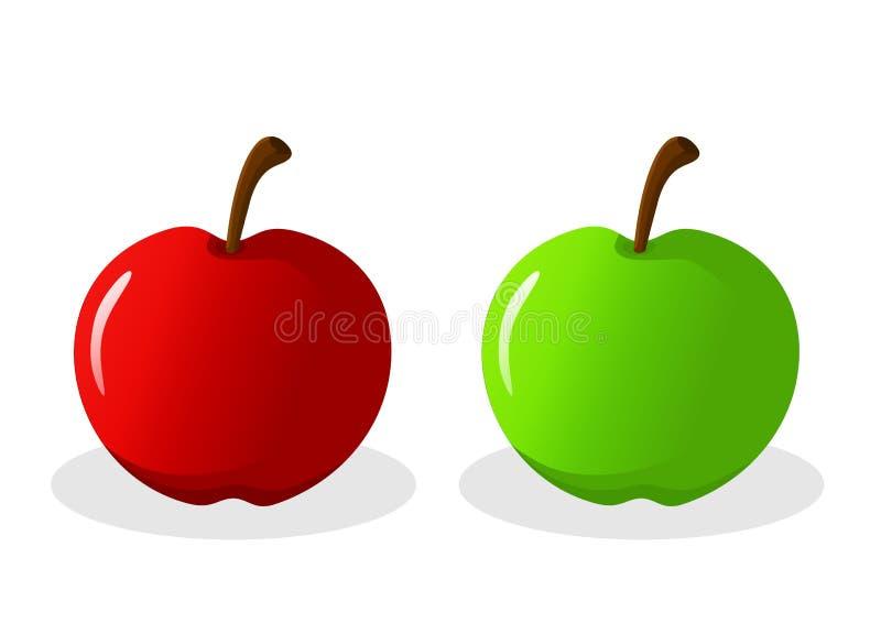 Vetor Apple vermelho verde fotos de stock