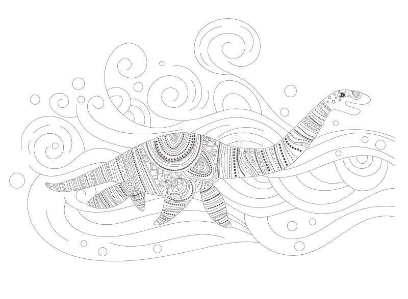 Vetor aquático da página da coloração do dinossauro cartoon Arte isolada ilustração do vetor