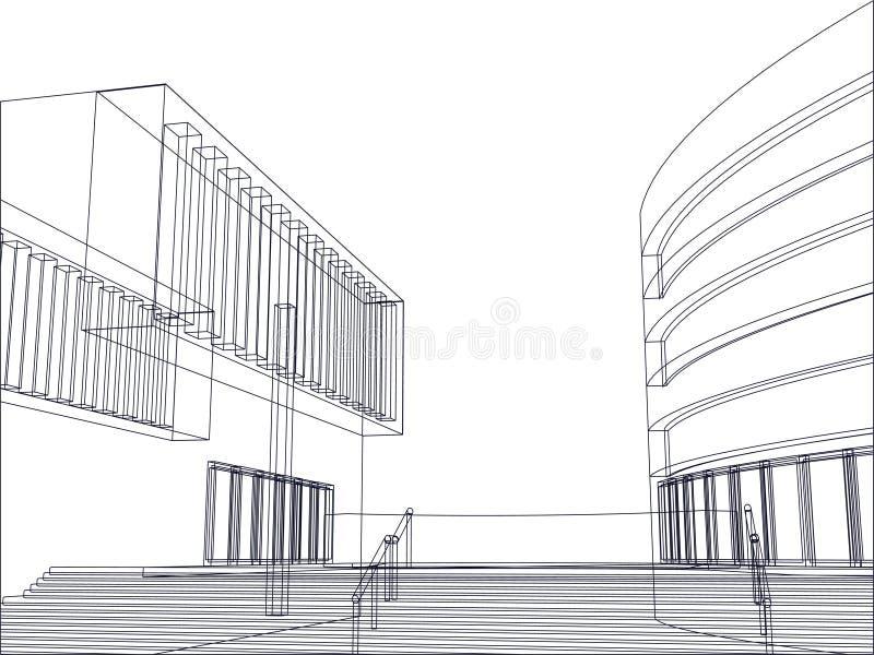 Vetor arquitectónico da planta do edifício ilustração do vetor