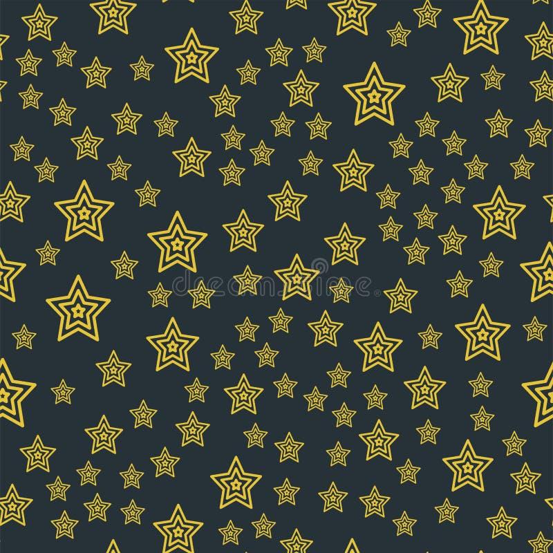 Vetor artístico do fundo da noite pentagonal sem emenda brilhante da garatuja do projeto do sumário da concessão do ouro do teste ilustração do vetor
