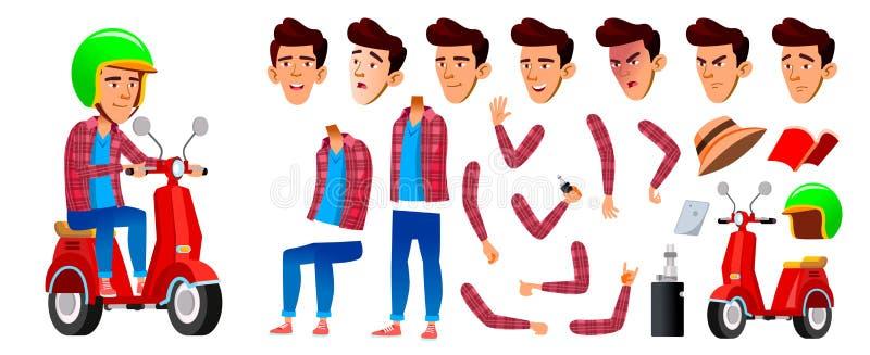 Vetor asiático da criança da estudante do menino Aluno alto Serviço de entrega Grupo da criação da animação Emoções da cara, gest ilustração stock