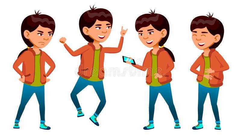 Vetor asiático da menina da escola Aluno alto teenage Beleza, estilo de vida, amigável Para o cartão, anúncio, tampa ilustração do vetor