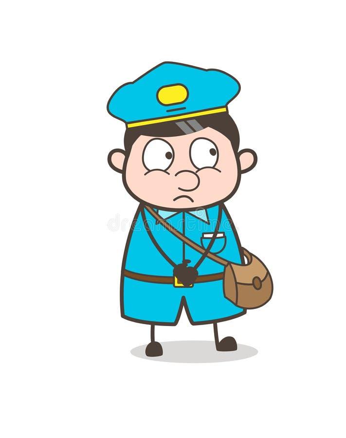 Vetor assustado da cara do Postal-trabalhador inocente ilustração royalty free
