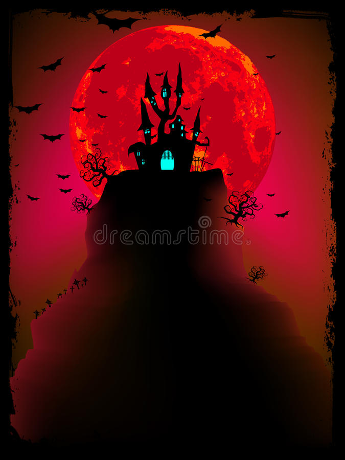 Vetor assustador do Dia das Bruxas com abadia mágica. EPS 10 ilustração do vetor