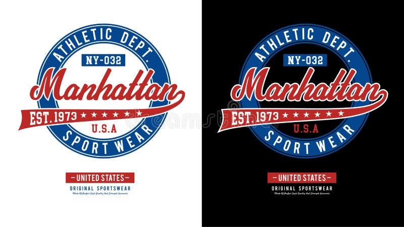 Vetor atlético da imagem do t-shirt de Manhattan ilustração do vetor