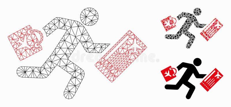 Vetor atrasado Mesh Network Model do passageiro e ícone do mosaico do triângulo ilustração royalty free