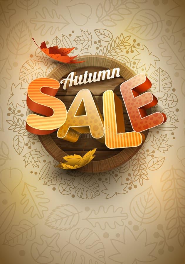 Vetor Autumn Sale Poster Design Template ilustração royalty free