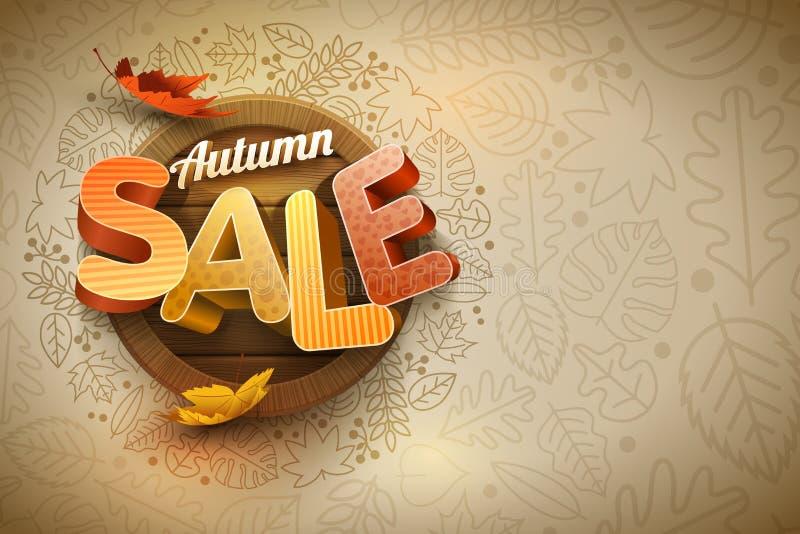 Vetor Autumn Sale Poster Design Template ilustração stock