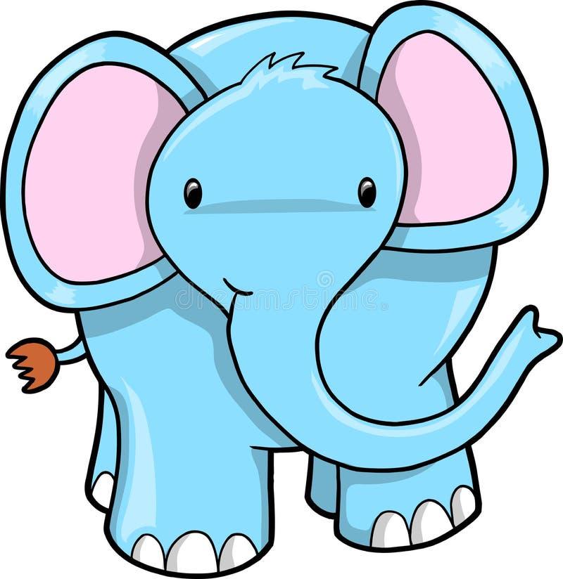 Vetor azul bonito do elefante ilustração stock