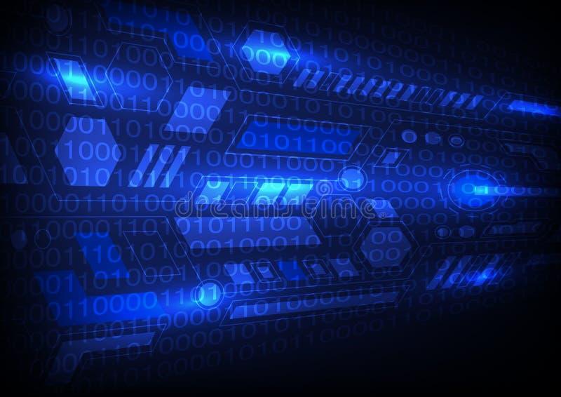 Vetor azul da ilustração EPS10 da olá!-tecnologia da ficção científica do fundo da tecnologia ilustração stock