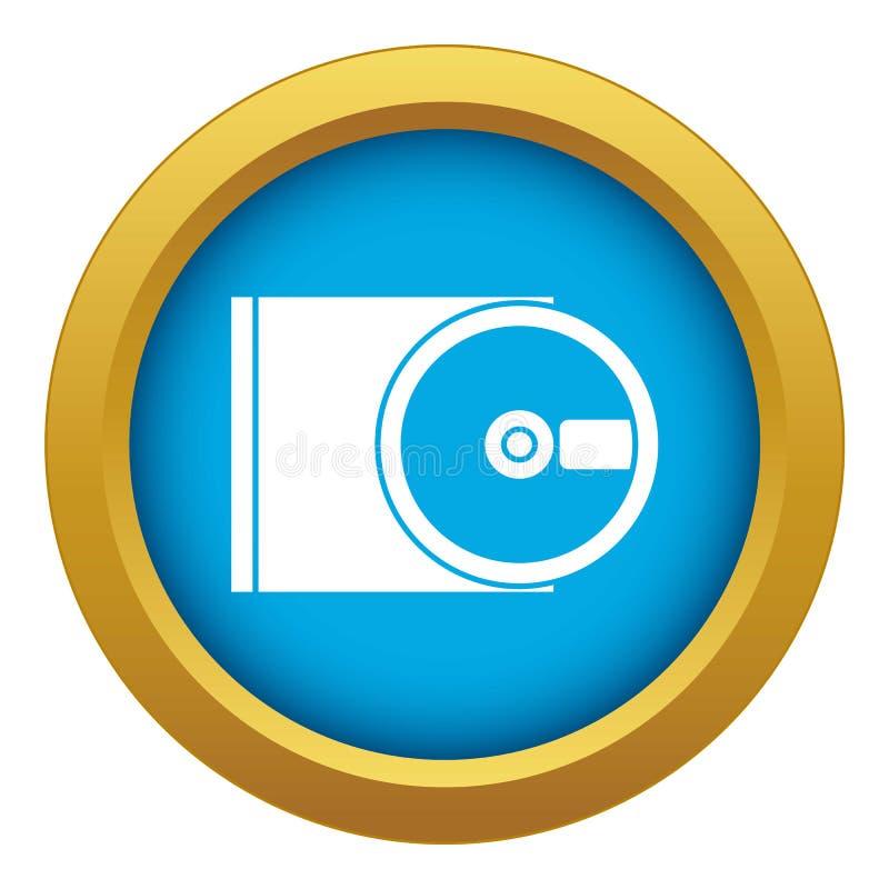 Vetor azul do ícone aberto da movimentação de DVD isolado ilustração stock