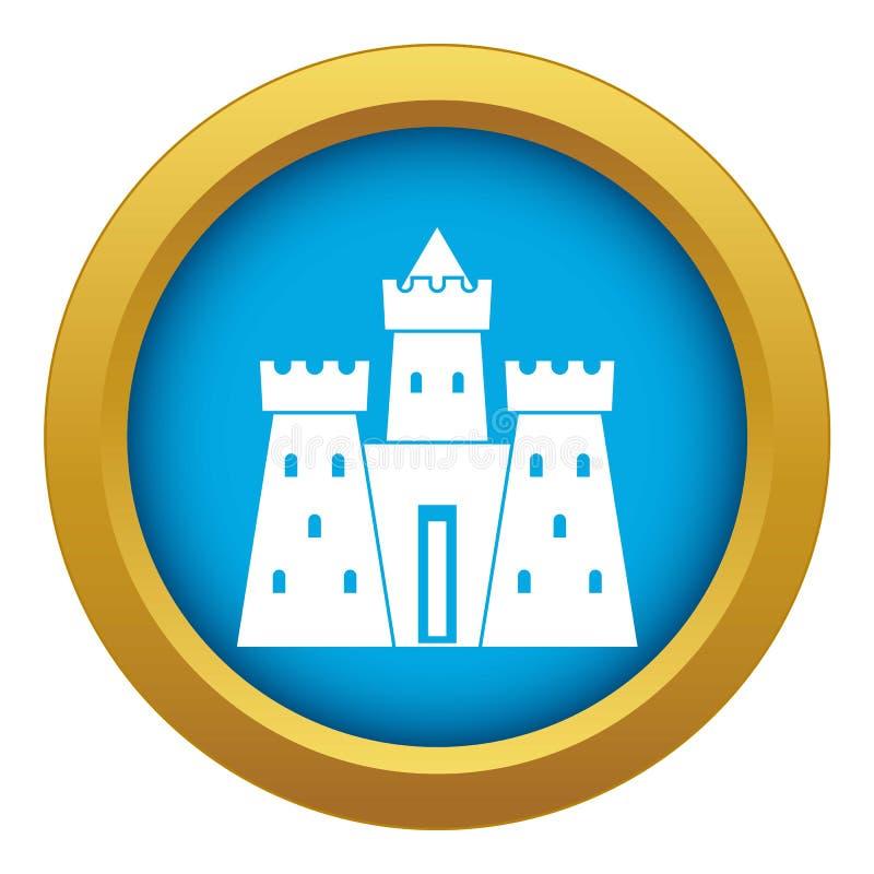 Vetor azul do ícone antigo do palácio do castelo isolado ilustração do vetor
