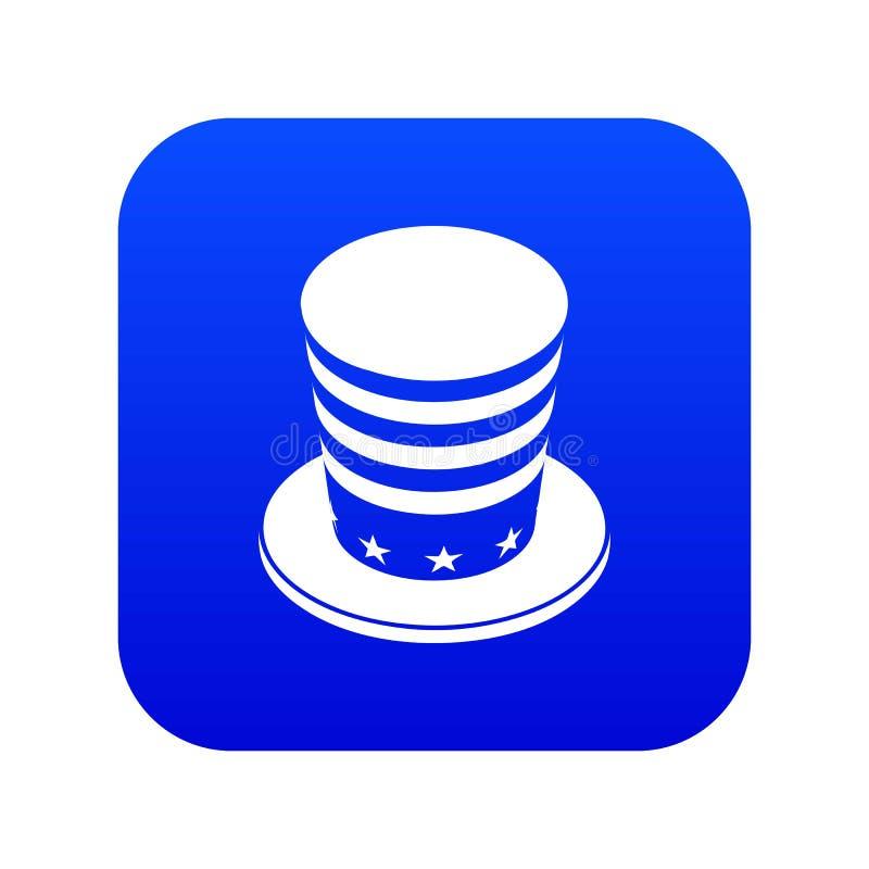 Vetor azul do ícone cônico americano do chapéu ilustração stock