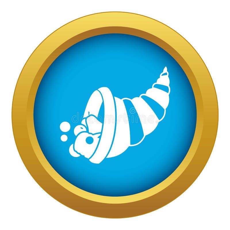 Vetor azul do ícone da cornucópia da ação de graças isolado ilustração do vetor
